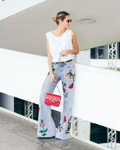 Helena Bordon in Gucci Pre-Fall 2016 jeans - SPFW - Day 2 - April 2016