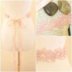 Peach Pearl Beading Flower Lace with Satin Ribbon by lovelikestyle, $22.00