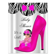 Cute Baby in High Heel Shoe Shower Baby Girl Animal Hot Pink Zebra White Print Polka dots Bow Ribbon invitation, adorable new baby, baby girl Gorgeous