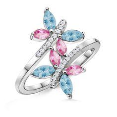 Marquise Aquamarine and Pink Sapphire Butterfly Ring in White Gold: Angara Tanzanite Jewelry, Tanzanite Ring, Sapphire Jewelry, Gemstone Jewelry, Gold Jewelry, Jewelry Rings, Jewelery, Unique Jewelry, Aquamarine Necklace