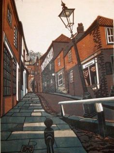 Polly Warren. Reduction Lino print - think this is Steep Hill, Lincoln?