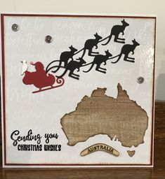 Kaisercraft map die and paper Rose sleigh and boomers Christmas card Australian Christmas Cards, Aussie Christmas, Christmas Pops, Homemade Christmas Cards, Christmas Wishes, Christmas Crafts, Pop Up Cards, Xmas Cards, Christmas In Australia