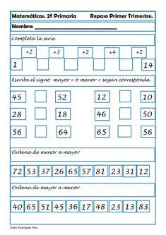 Fichas de matemáticas, Fichas primaria, Sumas, Restas, Números, recursos para el aula T 4, Periodic Table, Diagram, Education, Maths, Gabriel, Montessori, School, Google