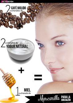 2 cucharadas de café molido + 2 cucharadas de yogur natural + 1 cucharada de miel= Mascarilla para la hinchazón