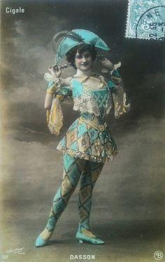 French harlequin artiste postcard