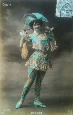 French harlequin artiste postcard by smokey lace, via Flickr