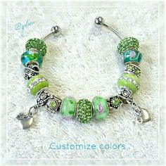 Candy Apple green, teacherEuropean charm bracelet Custom hand made charm bracelet w apple charms, premium glass and crystal spacers on a silver plated cuff that unscrews on both ends to easily add/switch charms. Can customize/ change colors. Can be switched to a snake chain for the same cost or to a high quality stainless steel cuff for an additional cost. Custom orders welcome, discounts given on bundles. Salty Grace  Jewelry Bracelets