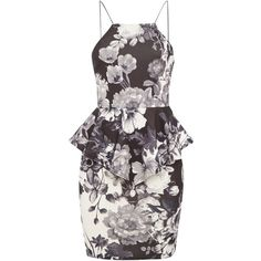 tfnc Race Front Printed Peplum Bodycon Dress ($27) ❤ liked on Polyvore featuring dresses, cocktail dress, sale, floral print cocktail dress, square neck dress, body conscious dress, sleeveless dress and peplum cocktail dress