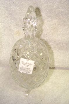 """BEAUTIFUL SLOVAKIA  CRYSTAL Footed 7 1/4"""" PINEAPPLE COVERED CANDY DISH - BOWL"""
