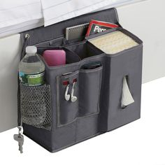 Polyester Bedside Caddy is a great companion for those who never want to get out of bed! Bedside caddy provides easy access storage for all your bedside needs. Bedside Caddy, Bedside Organizer, Bedside Storage, Bed Storage, Bedside Shelf, Storage Caddy, Nightstand, Dorm Room Storage, Dorm Room Organization