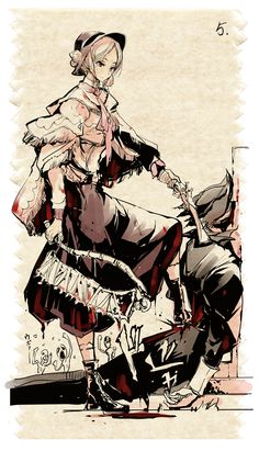 1boy 1girl blood blood_on_face bloodborne bloody_clothes bonnet boots comic dress endou_okito gun hat highres holding_weapon hunter_(bloodborne) multiple_people number plain_doll saw socks weapon
