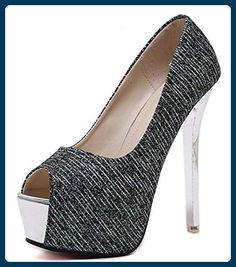 Aisun Damen Sexy Peep Toe Paillette Plateau Stiletto Ultra High Heels Sandalette Schwarz 36 EU - Sandalen für frauen (*Partner-Link)