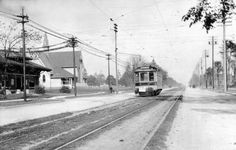 An electric rail car passes the original Highland Park Presbyterian Church on Woodward in 1905. Real estate investors, finding it almost impossible to sell their platted areas, promoted the extension of rail transportation from Detroit to the village to encourage land sales.