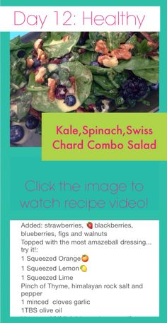 The BEST KALE SALAD EVER!!! Recipe on the image but CLICK THROUGH to watch the VIDEO! Add some protein on top if you would like to complete the meal! #salad #glutenfree #kalesalad #healthy