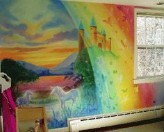 Unicorn mural/Lazure for child's room  by Charles Andrade