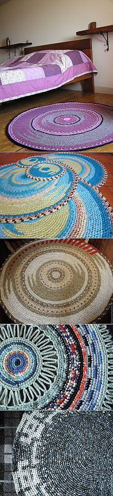 Beautiful rugs - now just to figure out how to make them ; Crochet Mat, Crochet Carpet, Crochet Home, Crochet Crafts, Crochet Doilies, Crochet Stitches, Crochet Projects, Crochet Patterns, Felt Ball Rug