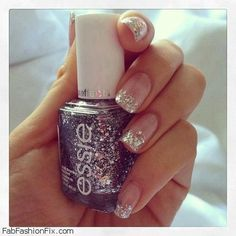 Glitter nails trend - more subdued than most of the glitter applications I've seen.
