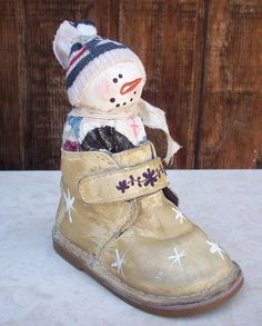 Vintage Primitive Hand Painted Snowman in Baby by nenafayesattic, $14.00