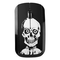 Funny black skull wireless mouse