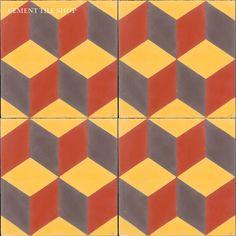 Cement Tile Shop - Encaustic Cement Tile Harlequin   Rouge