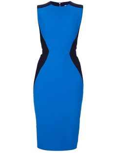 Black and blue wool-silk-cotton blend sleeveless dress from Victoria Beckham featuring a crew neck, a front and rear blue panel with black cut out's at the sides and a rear zip and button fastening.