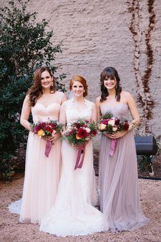 blush pink bridesmaid dresses - photo by Tyler and Lindsey http://ruffledblog.com/wedding-inspiration-with-a-vintage-english-theme #bridesmaids #bridalparty