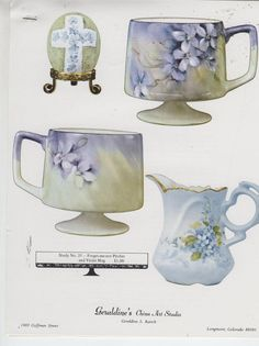Forget Me not Pitcher Violet Mug 35 by Geraldine Rarick China Painting Study | eBay