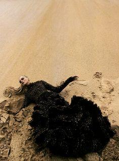 Carmen Kass in 'Venus in Furs' Photographer: Camilla Akrans Dress: Alexander McQueen F/W 2006/07 Numéro #78 November 2006
