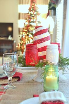 Chalky Painted Mason Jars + Christmas tablescape