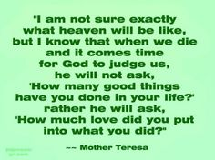 Mother Teresa quote on Heaven