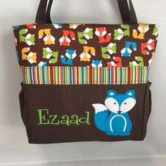 Urban Zoologie ... Brown  FOXES .. DIAPER Bag .. Applique  ... Bottle Pockets ... Personalized Free by TweedleTotes on Etsy
