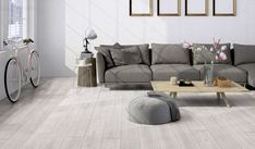 Grey Floor Tiles Living Room GREY, PINK & GREEN Encapsulating one of the hottest trends appropriate now – blush and blooming – this White Laminate Flooring, White Wood Floors, Timber Flooring, Grey Flooring, Vinyl Flooring, Grey Wall Tiles, Grey Floor Tiles, Floor Rugs, Plank