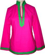 Pink and green tunic