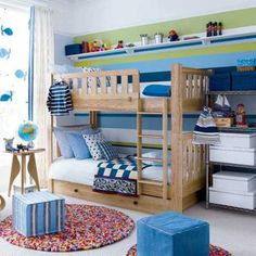 Boys Room Ideas- love the stripes on the wall and the shelf about the top bunk