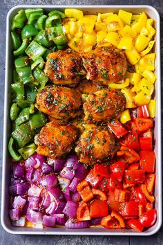 Honey Chili Chicken with Veggies Hearty and deliciously nutritious, this sheet-pan chicken takes gourmet dinners to new levels.Hearty and deliciously nutritious, this sheet-pan chicken takes gourmet dinners to new levels. Clean Eating Recipes, Clean Eating Snacks, Cooking Recipes, Crockpot Recipes, Easy Chicken Thigh Recipes, Chicken Recipes, Gourmet Chicken, Lasagna Recipes, Healthy Meal Prep