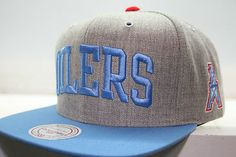 Houston Oilers NFL Mitchell Ness Snapback Cap Throwback Vintage Grey Blue  Hats  25 793488617