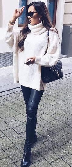 how to wear a white sweater bag   leggings   over knee boots