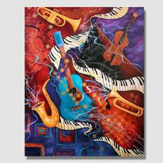 Supper Club Contemporary Jazz Music Guitar Painting