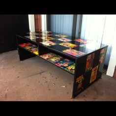 Pinup decoupage coffee table