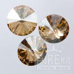 Eureka Crystal Beads - 1122 10mm (47ss) Rivoli CRYSTAL GOLDEN SHADOW Swarovski Crystal Stones (4 pcs), $2.85 (http://www.eurekacrystalbeads.com/1122-10mm-47ss-rivoli-crystal-golden-shadow/)