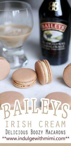 Boozy Baileys Irish Cream macaron filling for St. Best Macaron Recipe, Macaroon Recipes, Brownie Recipes, Cookie Recipes, Dessert Recipes, Pastry Recipes, Frosting Recipes, Drink Recipes, Baileys Irish Cream