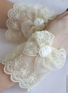 """Купить Кружевной манжет """"Ретро"""" - перчатки, перчатки женские, перчатки без пальцев, кружевной манжет"""