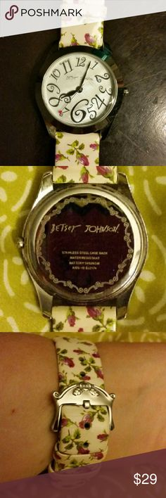 Sale! Betsy Johnson Watch + New Battery Precious!   No scratches to glass, watch face,  or band.   **Rosebud leather strap with animal print on the reverse.    ** stainless steel case  **  water resistant watch  ** stem is a tiny rose, sweet!   **  brand new battery, cost $9, currently paused as the stem is pulled out, just waiting to be used.   Because Who wants to buy a watch with a dead battery ?  Excellent Gently Used Condition Betsey Johnson Jewelry Bracelets
