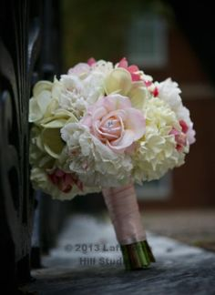 Real touch wedding flowers - blush pink wedding flowers - hydrangea rose peony