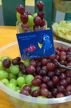 Finding Dory Party Food- Ocean Theme - Fruit - Coral Reef- Grapes-