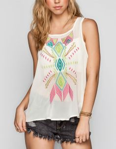 $22.99 Also in Black ALI & KRIS Embroidered Chiffon Womens Tank 231593150 | Tanks & Camis | Tillys.com