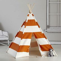 Cotton Canvas Orange Striped Teepee Play Tent, $149. Find this and more GIft Guides at SmallforBig.com #kids #toys #playhouse #christmas