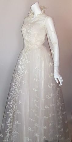 Grace Kelly Style Lace Wedding Gown & Jacket circa 1950s - Dorothea's Closet Vintage