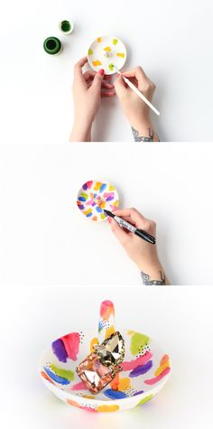 DIY Abstract Painted Ring Holder-- click through for full tutorial!