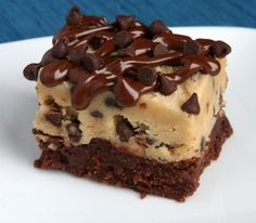 Cookie dough brownies drizzled with chocolate